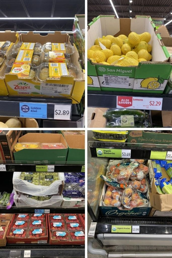 Collage showing kiwis for $2.89, bags of lemons for $2.29, strawberries for $1.69, and organic peaches for $3.99.