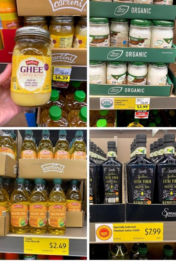 Bottles of Carlini Ghee for $6.39, Coconut Oil for $3.99, Olive Oil for $2.49, and Italian Extra Virgin Olive Oil for $7.99 at Aldi.