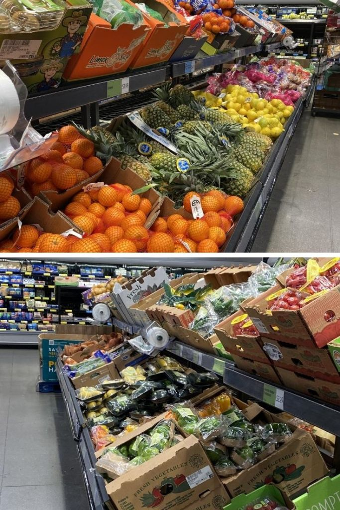 Collage of the fruit and vegetable aisles at Aldi.
