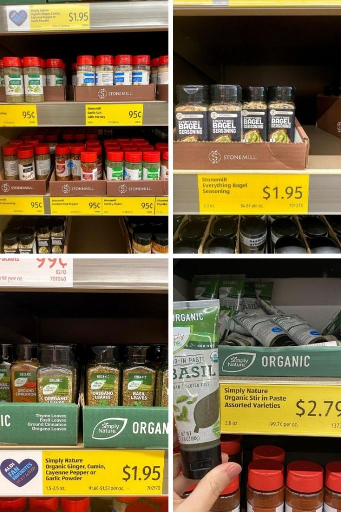 Different spices on the shelf, ranging in price from $.95 to $2.79.