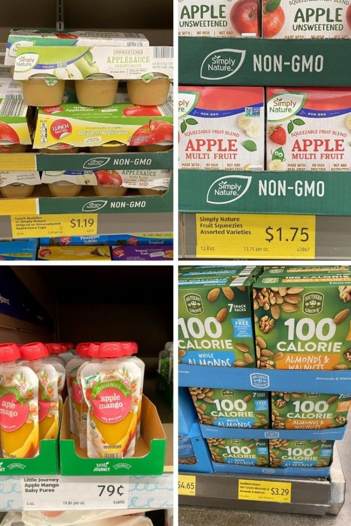 Individual cups of apple sauce for $1.19 and squeeze packages of apple sauce for $1.75, baby food packets for $.79, and nut packs for $3.29 at Aldi.