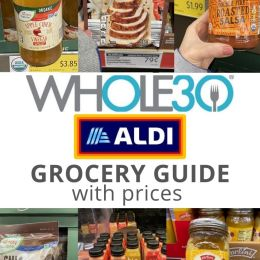 "A collage of groceries available at Aldi with the words ""Whole30 Aldi Grocery Guide with Prices"" for Pinterest."
