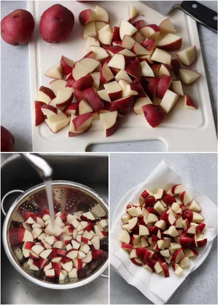 Collage of process shots showing the potatoes diced into bite sized pieces, getting rinsed in a colander, then drying on a paper towel lined plate.