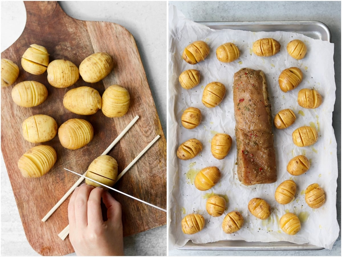 Collage showing two hands cutting slices in a potato that's resting between two wooden chopsticks, and the hasselback potatoes and pork loin uncooked on a sheet pan.