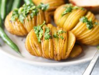 Close up side view of the cooked mini hasselback potatoes.