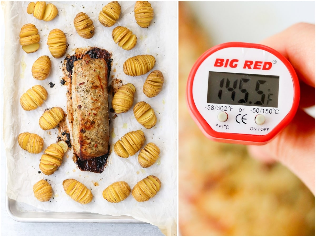 Collage showing the cooked dish on a sheet pan and a close up of a meat thermometer inserted in the pork loin that reads 145F.