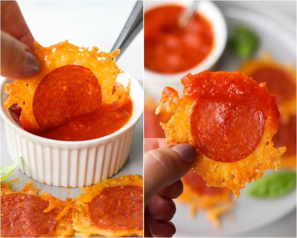 Collage showing a hand dipping one cheese crisp in tomato sauce, then a close up of the dipped cheese crisp.