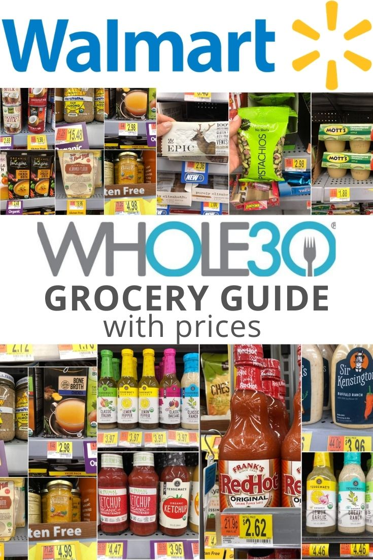"""A large Walmart logo with a collage of grocery items beside the price tags with the words """"Whole30 Grocery Guide with prices"""" for Pinterest."""