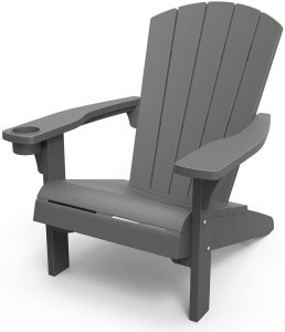 A gray Adirondack chair.