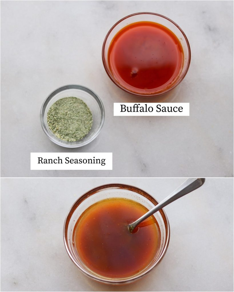 Collage showing the labeled buffalo ranch marinade recipe ingredients and the finished mixed marinade.