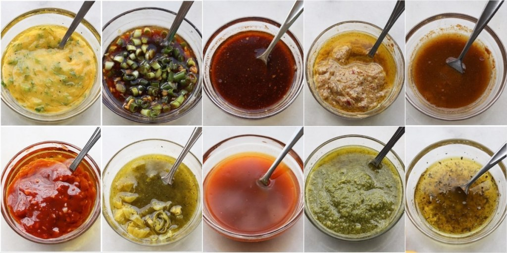 Collage of ten marinades, each served in a small glass dish.