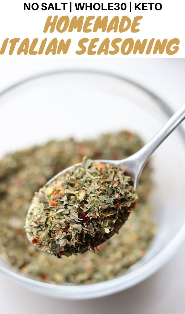 Pinterest graphic with the recipe title and close up image of the Italian seasoning.