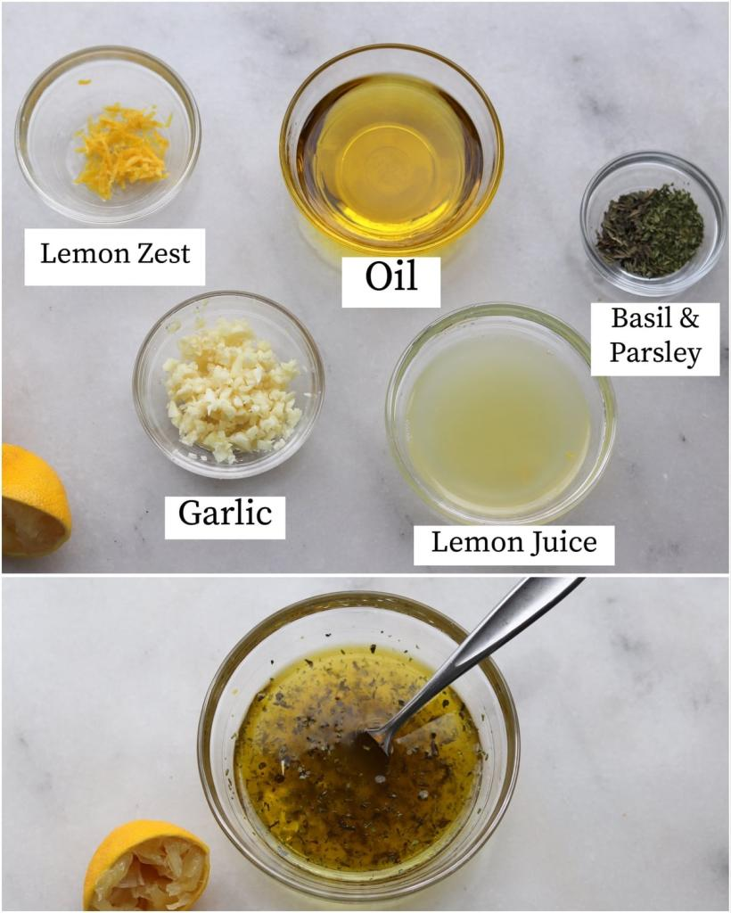 Collage showing the labeled lemon garlic marinade recipe ingredients and the finished mixed marinade.