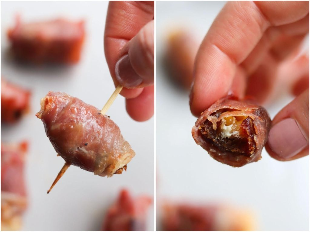 Collage showing a hand holding a cooked prosciutto wrapped date on a toothpick, then with a bite taken out to see the cheese inside.