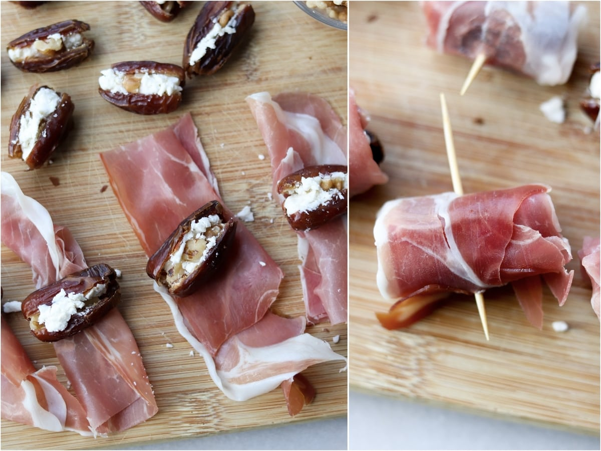 Process collage showing stuffed dates lying on top of prosciutto, then the wrapped dates held together with a toothpick.