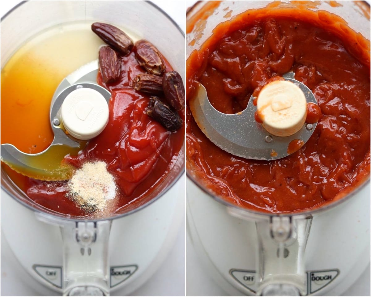 Process Collage showing the ingredients added to a food processor, then blended fully.
