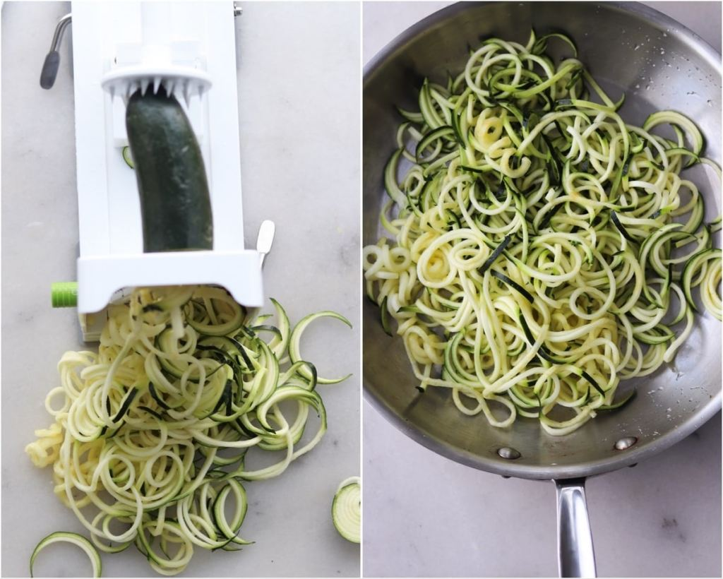 Collage with a top down close up of the zucchini being spiralized on a thin setting, then the zucchini noodles cooking in a skillet.