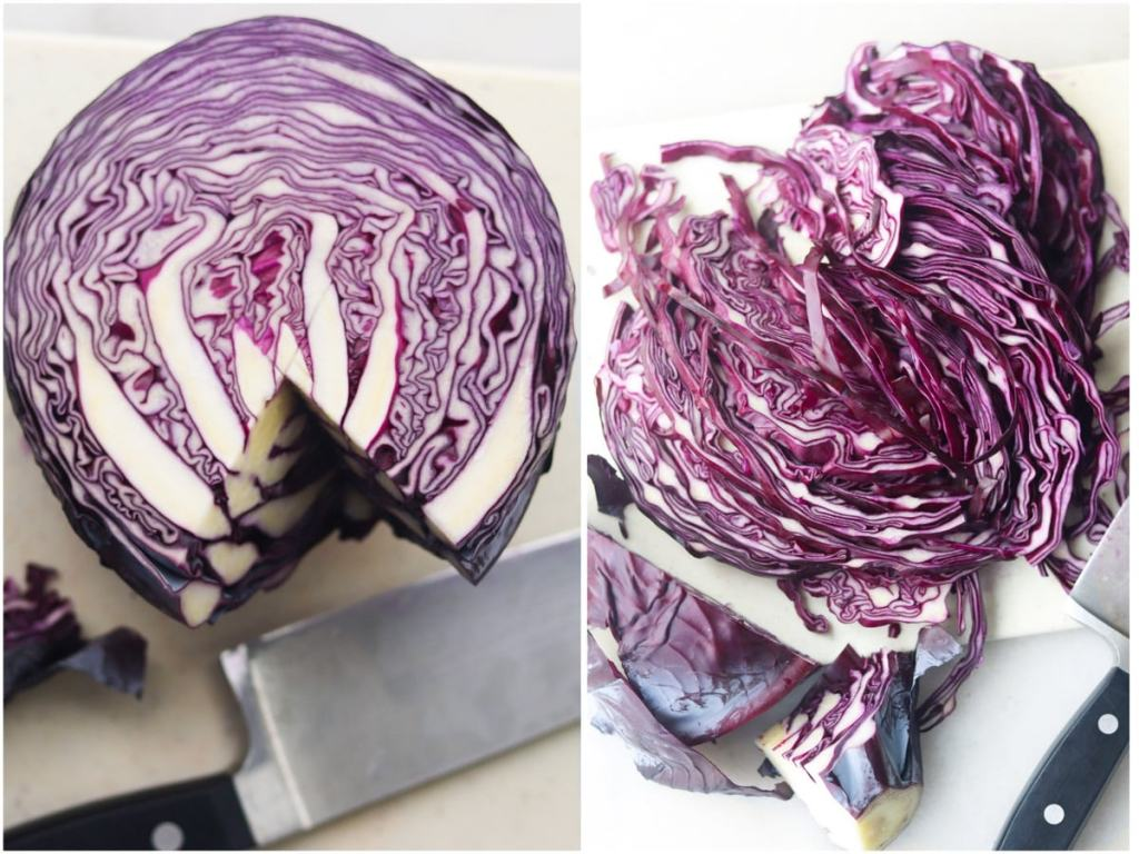 Process collage showing the stem removed from the cabbage, then the cabbage thinly sliced on a cutting board.