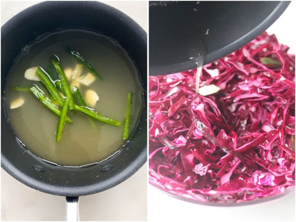 Process collage showing simmering vinegar, spices, garlic, and jalapeno in a small sauce pan, then the vinegar mixture poured over the cabbage.