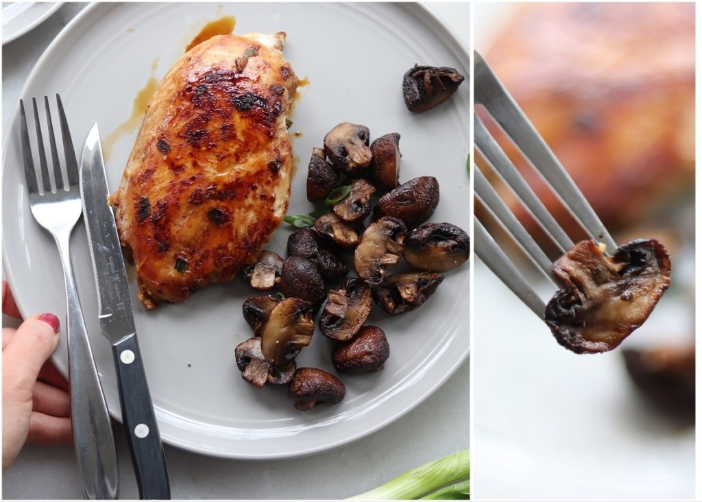 Collage with the mushroom served beside a piece of grilled chicken and a close up of a fork with one cooked mushroom on it.
