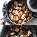 """Pinterest graphic with two photos of the mushrooms in the air fryer basket with the words """"Keto, Whole30 Air Fryer Mushrooms."""""""