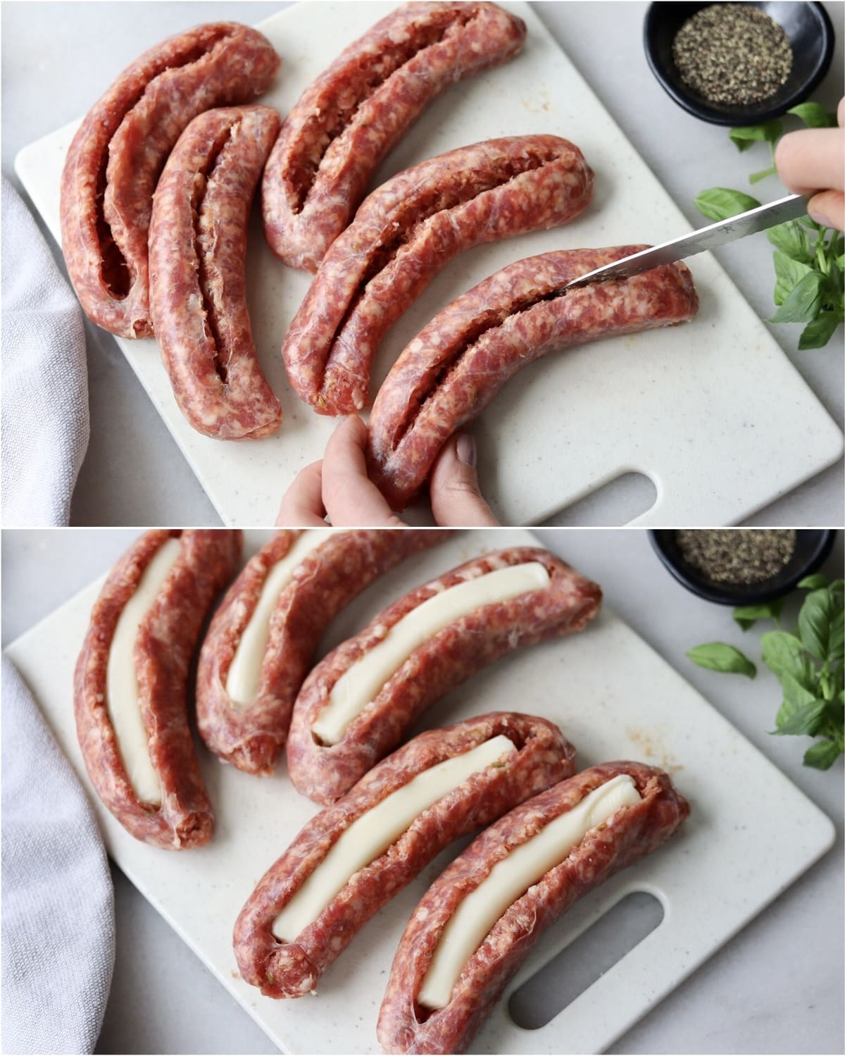 Collage showing the process of cutting a long slice into each sausage link and pressing cheese inside the slices.