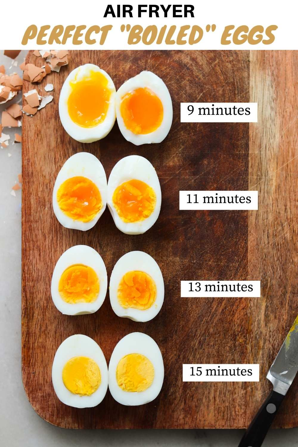 "Pinterest graphic with the title ""Air Fryer Perfect ""Boiled"" Eggs with cook times beside each differently cooked egg."