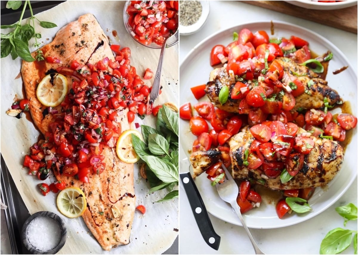 Collage of roasted salmon topped with bruschetta and grilled chicken topped with bruschetta.