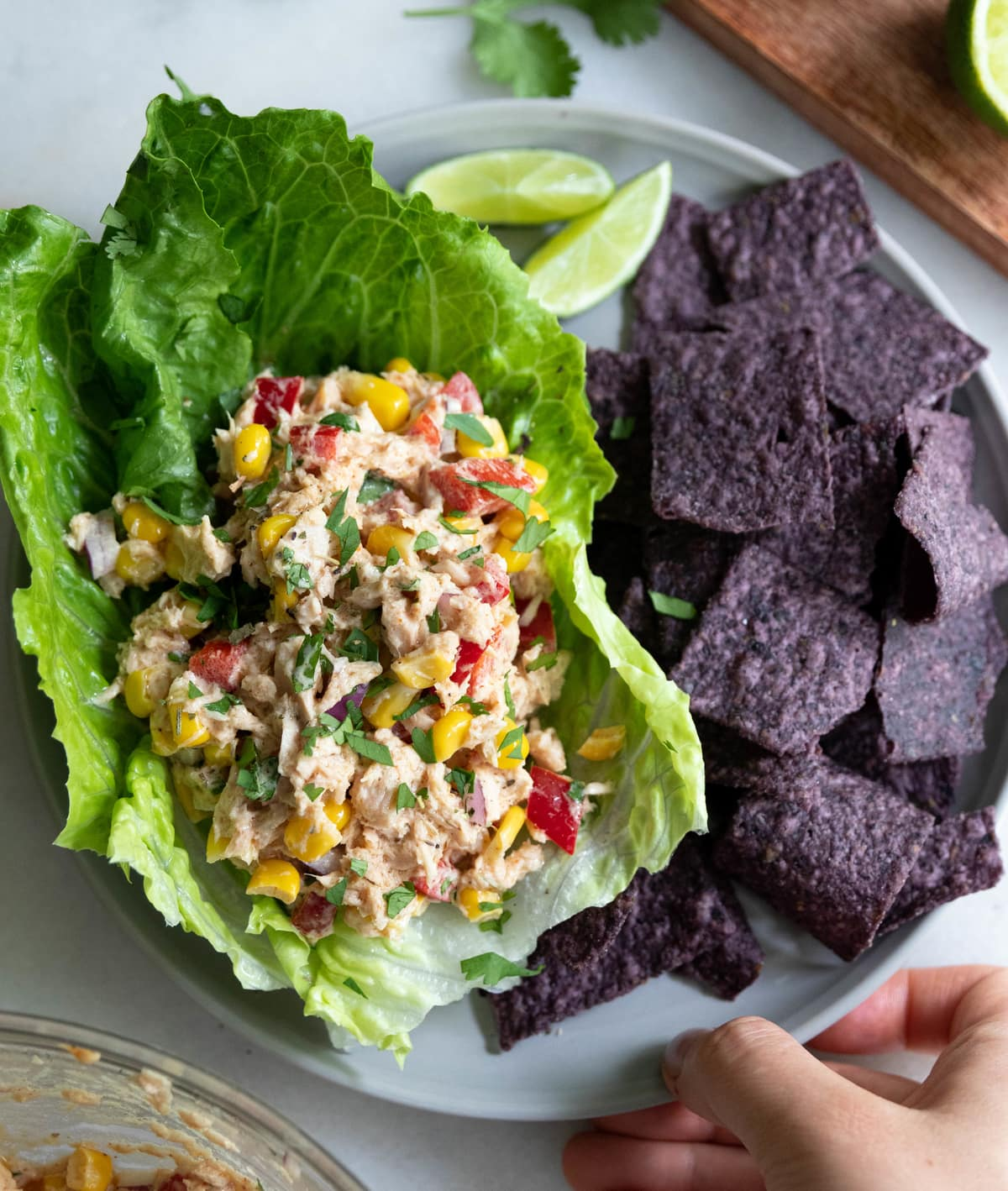 A hand holding a gray plate filled with Mexican tuna salad in lettuce boats and blue corn tortilla chips.