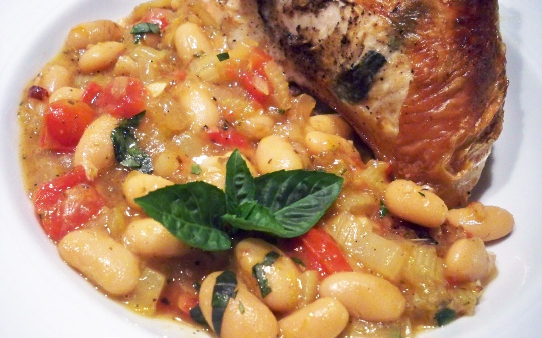 Basil Chicken with White Cannellini Beans