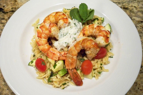 Grilled Shrimp with Minty Orzo Salad and Tzatziki