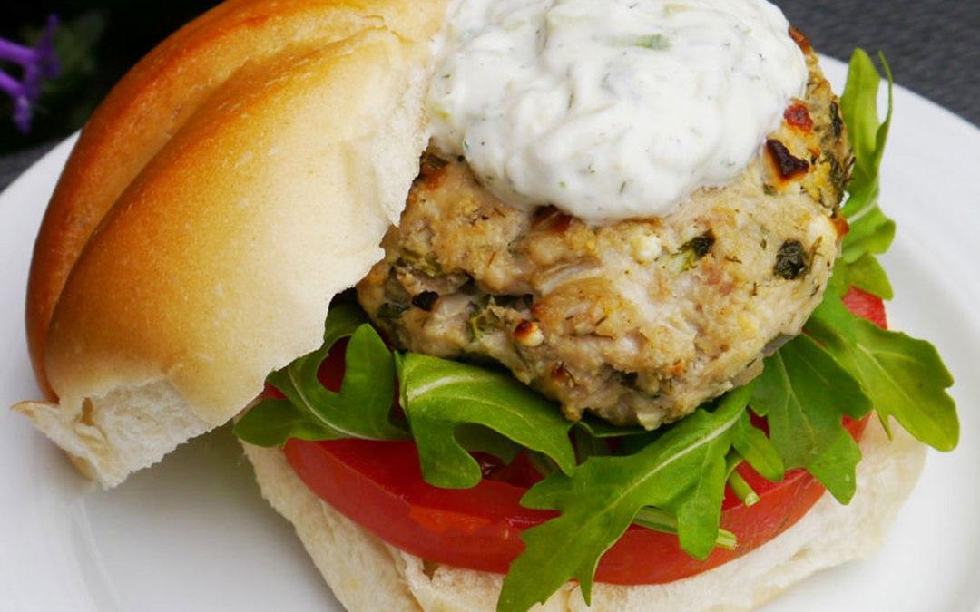 Greek Chicken Burgers with Tzatziki