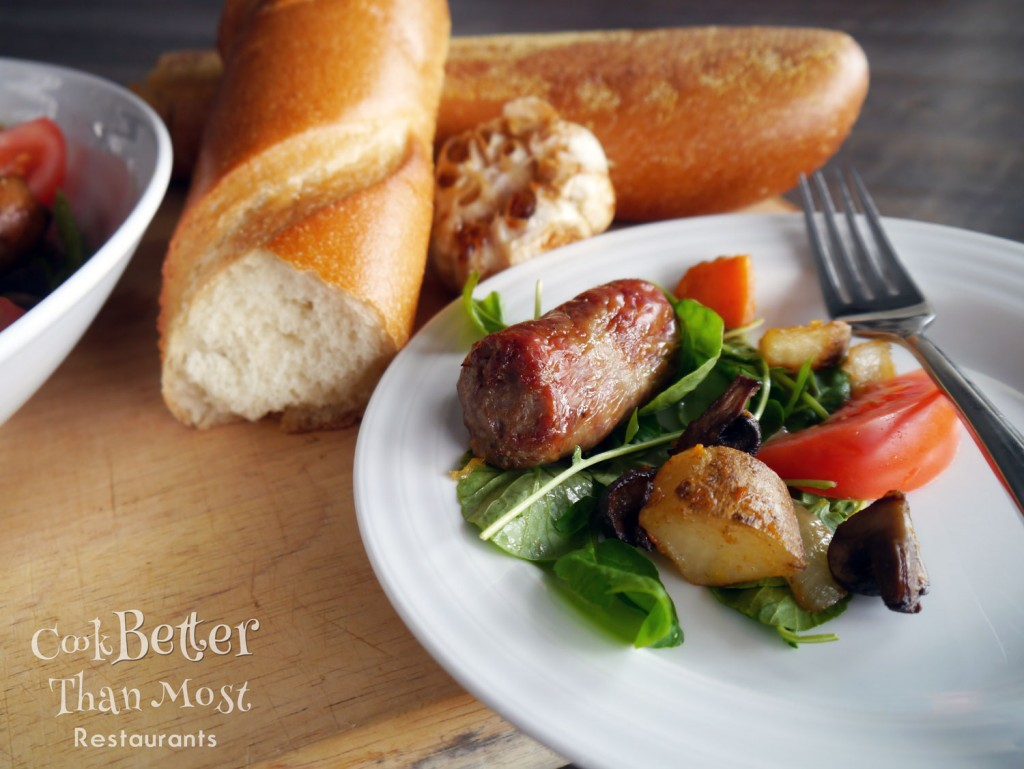 Roasted Sausage and Mushrooms with Watercress Salad