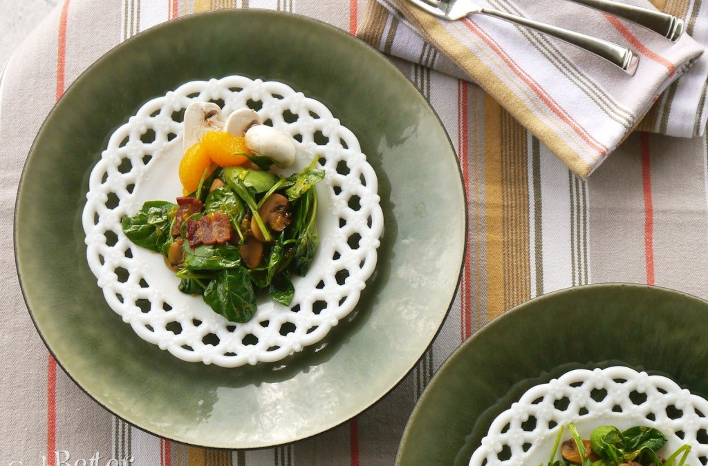 Mandarin Spinach Salad with Hot Bacon Dressing