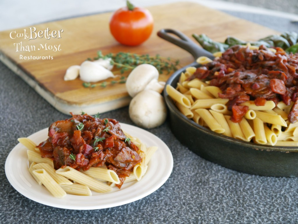 Fresh Tomato and Mushroom Arrabiata Pasta
