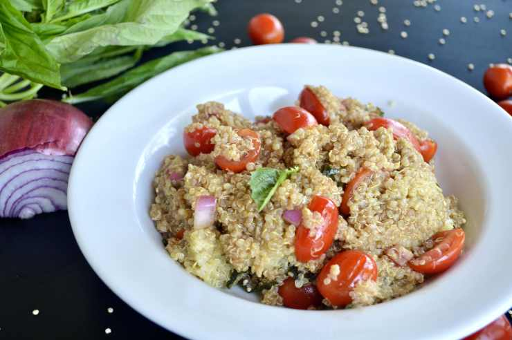 Quinoa with Sweet Basil and Cherry Tomatoes
