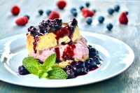 biscuits with blueberry and raspberry cream