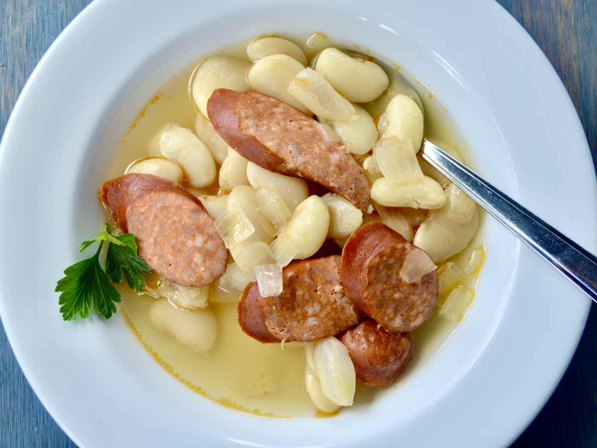brined butter beans with andouille sausage