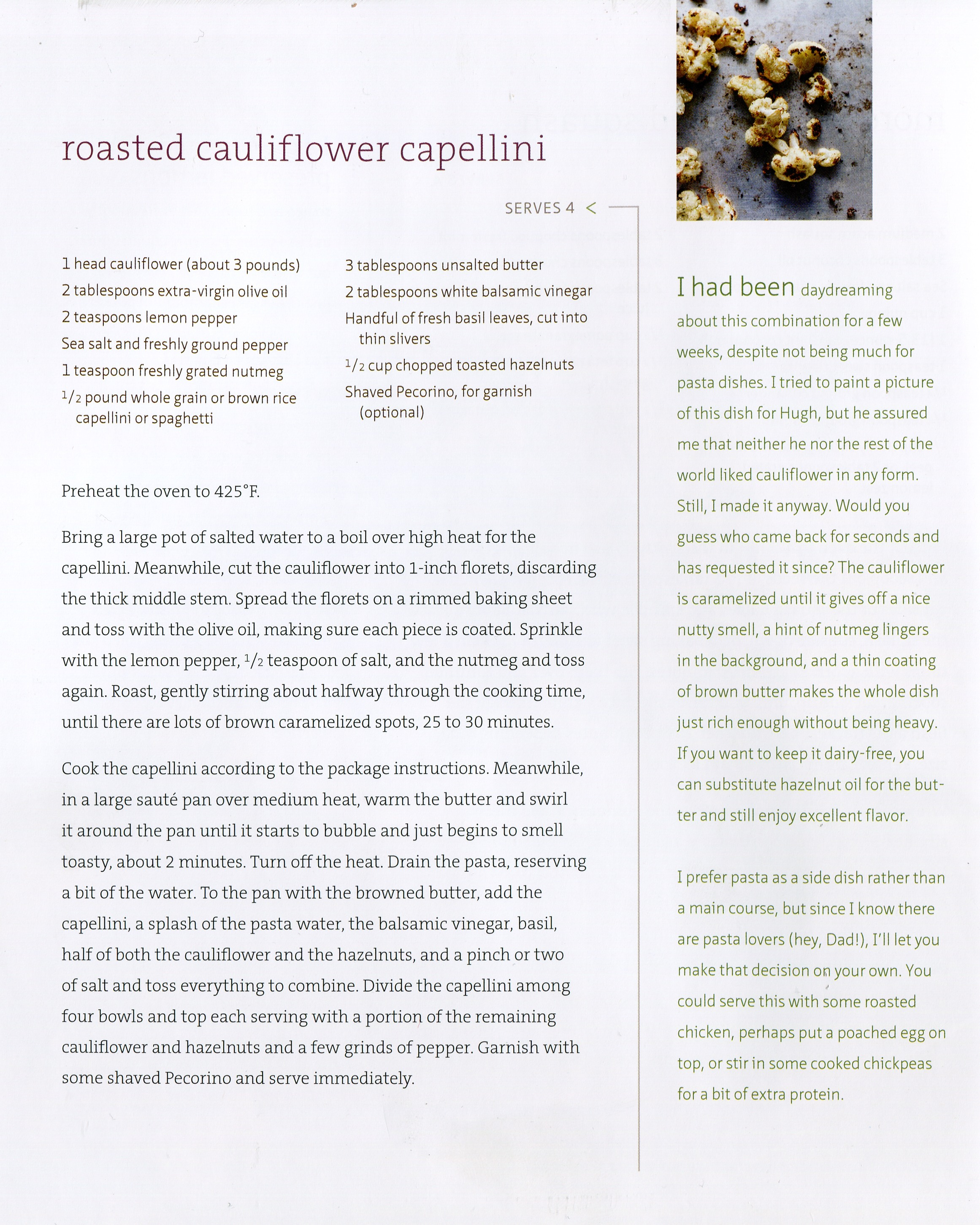 sprouted kitchen book faucets roasted cauliflower and capellini from the