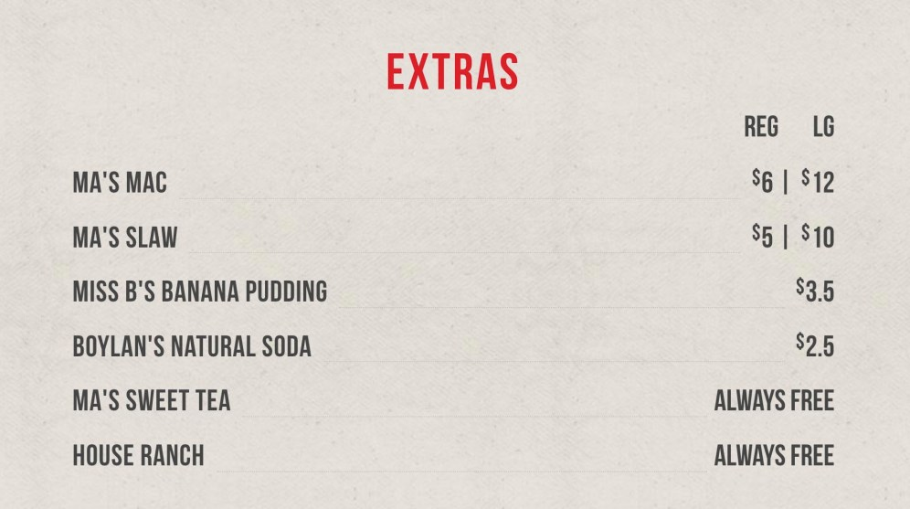 Hot Chicken Takeover Extras Menu