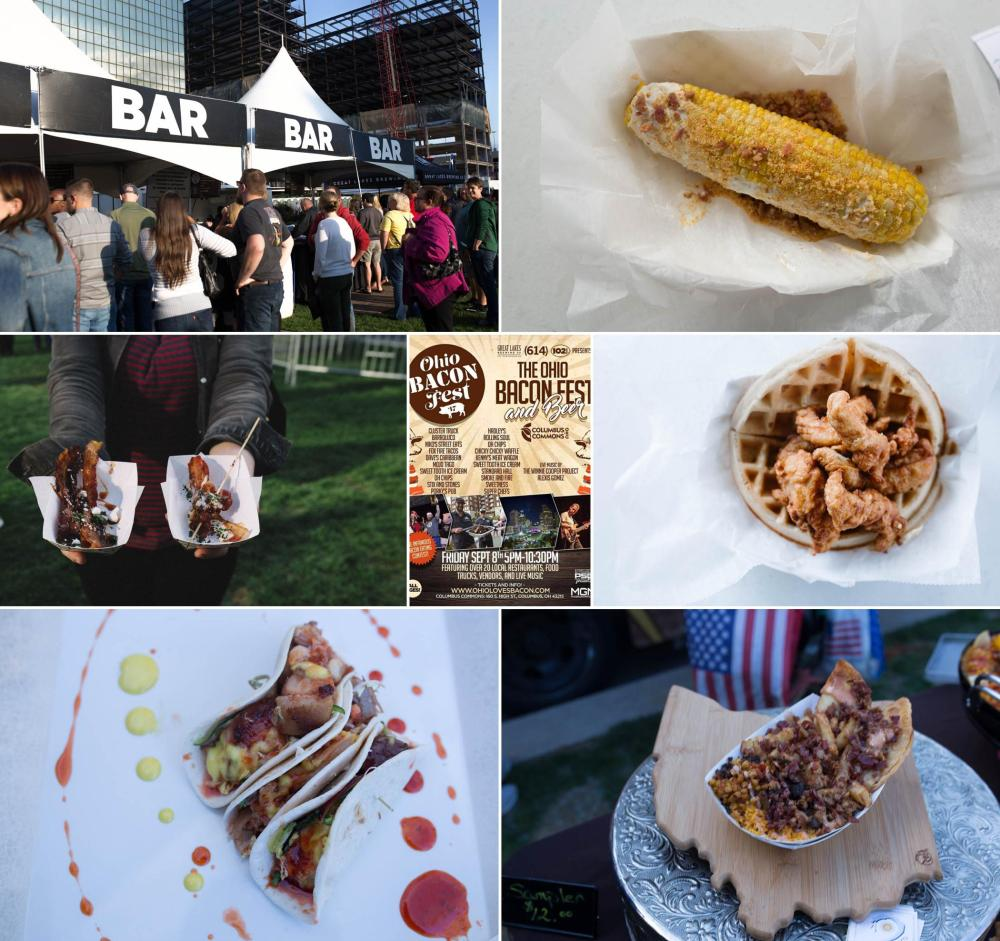 Photos of Bacon Fest's offerings.