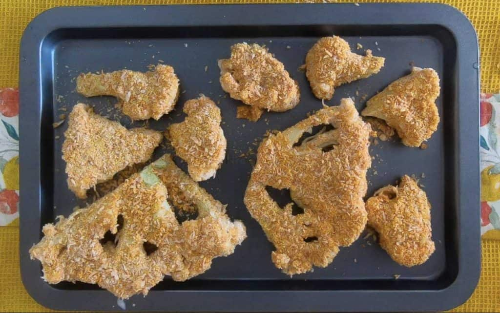 Breaded cauliflower is on the try and ready to cook