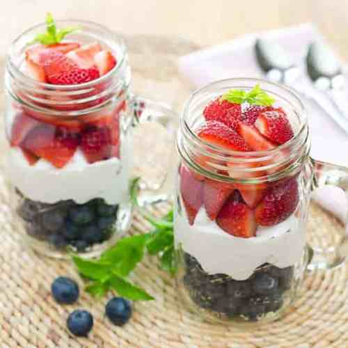 Red, White & Blue Berries and Cream patriotic breakfasts