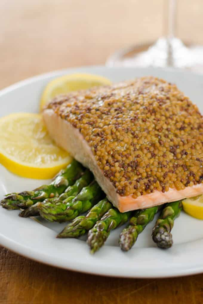 Mustard Crusted Salmon With Roasted Asparagus