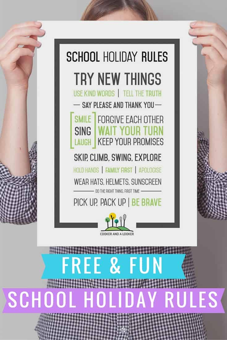 free and fun school holiday rules printable