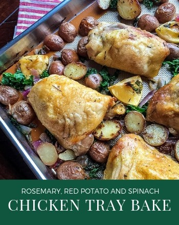 Tray bakes are wonderful mid-week dinners. This rosemary chicken tray bake has all the delicious flavour of a roast in a fraction of the time.