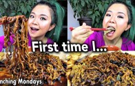 TRUFFLE JAJANGMYEON – BLACK BEAN NOODLES &amp – DUMPLINGS VEGAN MUKBANG  – Munching Mondays Ep.22