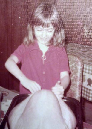 Kathleen Flinn as kid stuffing a turkey_edited
