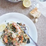 Shrimp with Tarragon on Wilted Greens