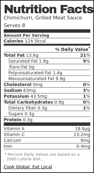 Nutrition label for Chimichurri, Grilled Meat Sauce